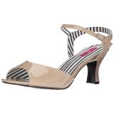 Beige Lackleder 7,5 cm JENNA-09 grosse grössen sandaletten damen