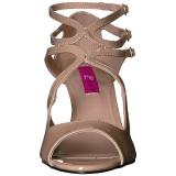 Beige Lackleder 7,5 cm KIMBERLY-04 grosse grössen sandaletten damen