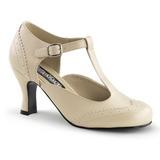 Beige Matt 7,5 cm FLAPPER-26 Damen Pumps Schuhe Flach