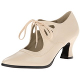 Beige Matte 7 cm retro vintage VICTORIAN-03 Pumps with low heels