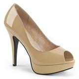 Beige Patent 13,5 cm CHLOE-01 big size pumps shoes