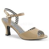 Beige Patent 7,5 cm JENNA-09 big size sandals womens