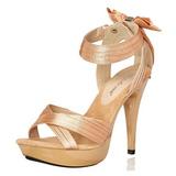 Beige Satin 13 cm COCKTAIL-568 Sandaletten mit hohen Absätzen