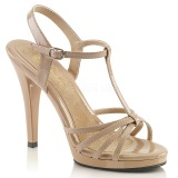 Beige Shiny 12 cm FLAIR-420 Womens High Heel Sandals