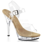 Beige Transparent 13 cm LIP-108 Plateau High Heel Schuhe