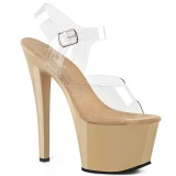 Beige Transparent 18 cm SKY-308 Plateau High Heels