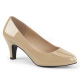 Beige Varnished 8 cm DIVINE-420W Women Pumps Shoes Flat Heels