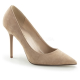 Beige Veloursleder 10 cm CLASSIQUE-20 Damen Pumps Stiletto Absatz