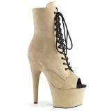 Beige faux suede 18 cm ADORE-1021FS pole dance ankle boots