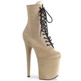Beige faux suede 20 cm FLAMINGO-1020FS pole dance ankle boots