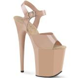 Beige high heels 20 cm FLAMINGO-808N JELLY-LIKE stretchmaterial plateau high heels