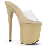 Beige plateau 20 cm FLAMINGO-801 pleaser high heel mules