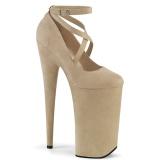 Beige vegan suede 25,5 cm BEYOND-087FS high heels - extreme plateau pumps