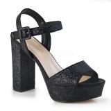 Black 11,5 cm CELESTE-09 glitter platform sandals with block heels