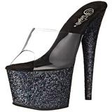 Black 18 cm ADORE-701LG glitter platform mules womens