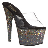 Black 18 cm PLEASER STARSPLASH-701 Star Platform High Mules Shoes