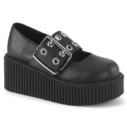 Black 7,5 cm CREEPER-230 maryjane creepers women - rockabilly shoes with buckle