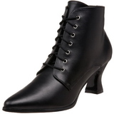 Black 7 cm VICTORIAN-35 Lace Up Ankle Calf Women Boots