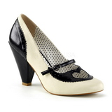 Black 9,5 cm retro vintage POPPY-18 Pinup Pumps Shoes with Low Heels