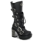 Black 9 cm SINISTER-203 womens buckle boots with platform
