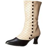 Black Beige 7 cm VICTORIAN-123 Ankle Calf Boots Women