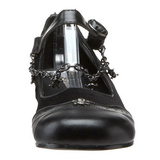 Black DAISY-07 gothic mary jane ballerina shoes flat heels