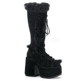 Black Fur 13 cm CAMEL-311 Platform Knee High Goth Boots