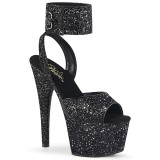 Black Glitter 18 cm ADORE-791LG pleaser high heels with ankle straps