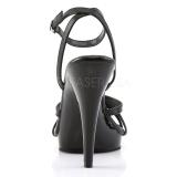 Black Leather 12 cm FLAIR-436 Womens High Heel Sandals