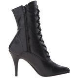 Black Leatherette 10,5 cm VANITY-1020 Flat Ankle Calf Boots Women