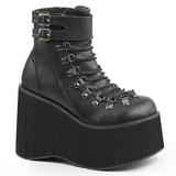 Black Leatherette 11,5 cm KERA-21 lolita ankle boots wedge platform