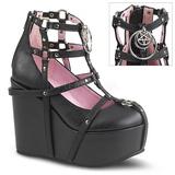 Black Leatherette 13 cm POISON-25-1 lolita ankle boots wedge platform