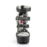 Black Leatherette 14,5 cm Burlesque TEEZE-42W mens high heels for wide feets
