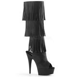 Black Leatherette 15 cm DELIGHT-2019-3 womens fringe boots high heels