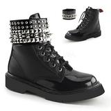 Black Leatherette 3,0 cm RIVAL-106 punk ankle boots