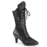 Black Leatherette 7,5 cm DIVINE-1050 big size ankle boots womens