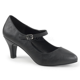 Black Leatherette 8 cm DIVINE-440 Pumps with low heels