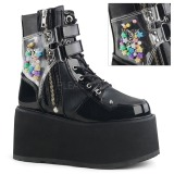 Black Leatherette 9 cm DAMNED-115 ankle boots with buckles