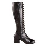 Black Matte 5 cm RETRO-302 High Heeled Lace Up Boots