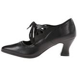 Black Matte 7 cm retro vintage VICTORIAN-03 Pumps with low heels