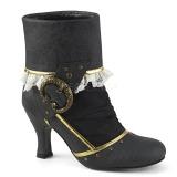 Black Microfiber 7,5 cm MATEY-115 Retro Ankle Calf Boots
