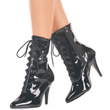 Black Patent 13 cm SEDUCE-1020 Flat Ankle Calf Boots Women