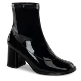 Black Patent 7,5 cm GOGO-150 stretch block heels ankle boots