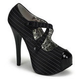 Black Pinstripe 14,5 cm TEEZE-23 Womens Shoes with High Heels
