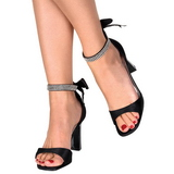 Black Rhinestone 8,5 cm ROMANCE-372 Womens High Heel Sandals