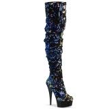 Black Sequins 15 cm DELIGHT-3004 Pleaser Overknee Boots