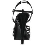 Black Shiny 12 cm FLAIR-420 Womens High Heel Sandals