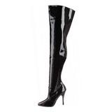 Black Shiny 13 cm SEDUCE-3010 Thigh High Boots for Men