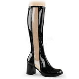 Black Shiny 8,5 cm GOGO-303 High Heeled Womens Boots for Men