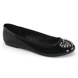 Black Shiny STAR-24 gothic ballerina shoes flat heels